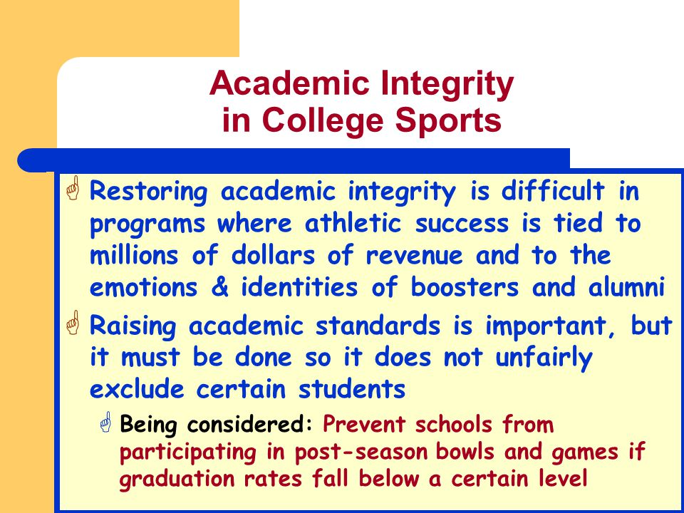 Academic Integrity in College Sports