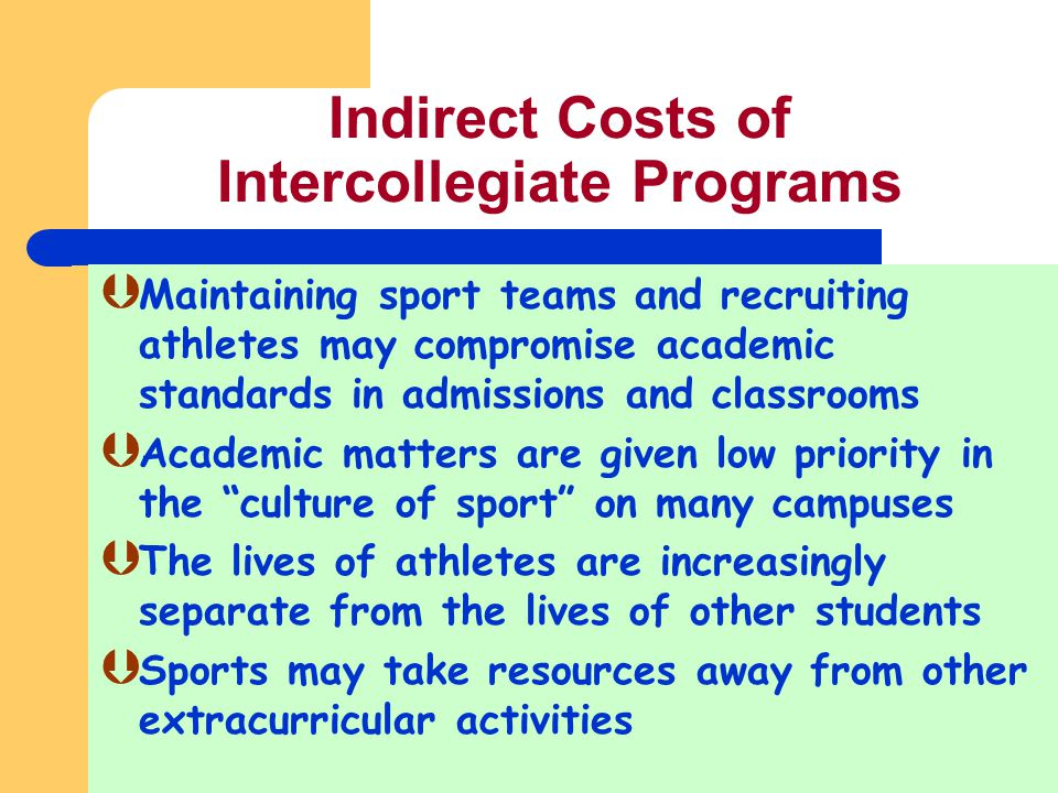 Indirect Costs of Intercollegiate Programs