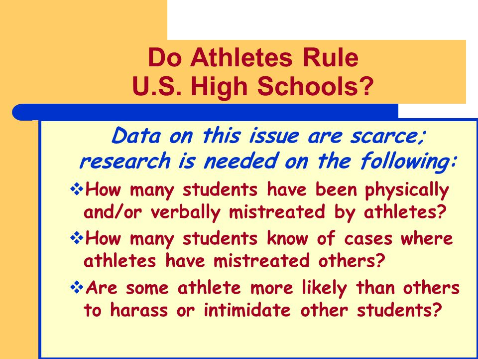 Do Athletes Rule U.S. High Schools