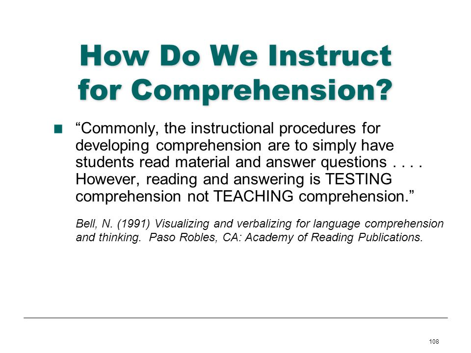 How Do We Instruct for Comprehension