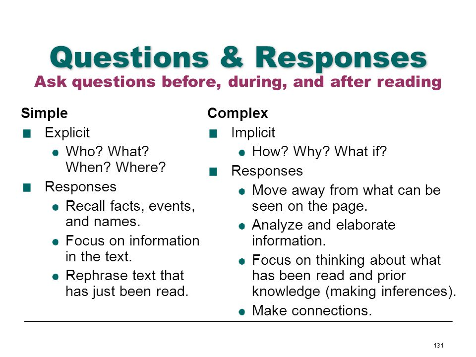 Ask questions before, during, and after reading