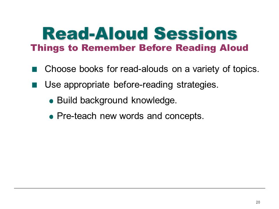 Things to Remember Before Reading Aloud