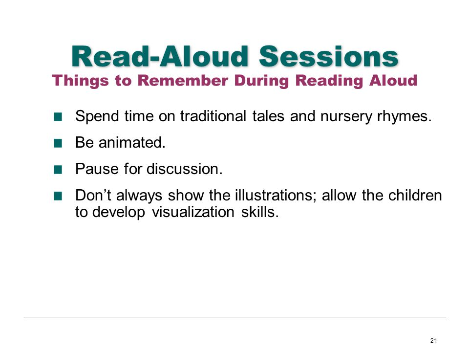 Things to Remember During Reading Aloud