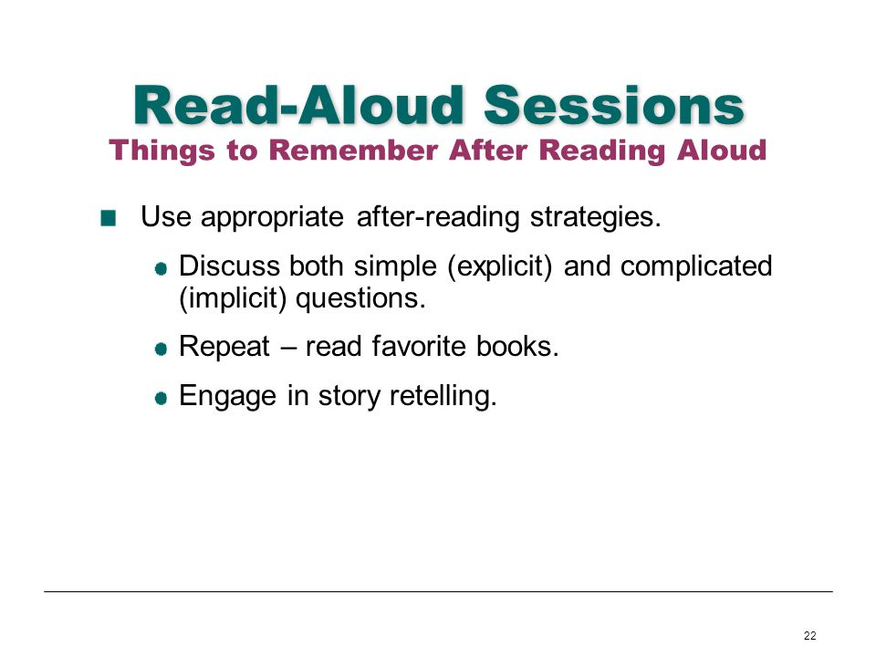Things to Remember After Reading Aloud