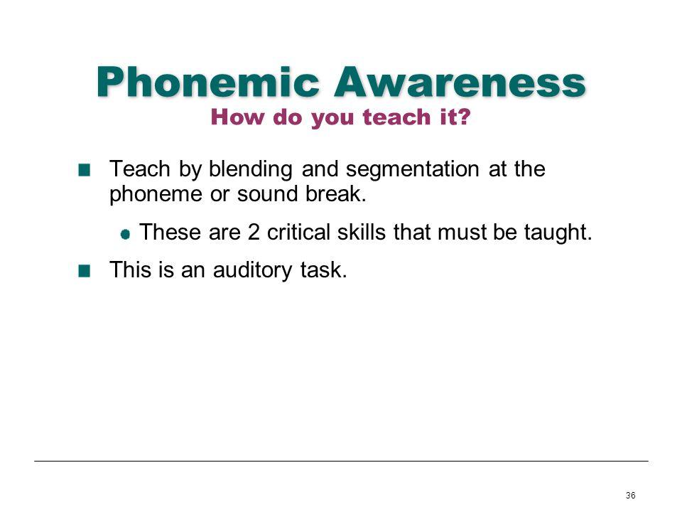 Phonemic Awareness How do you teach it
