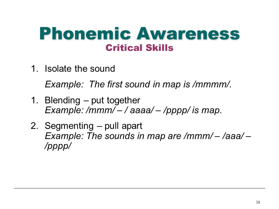 Phonemic Awareness Critical Skills Isolate the sound
