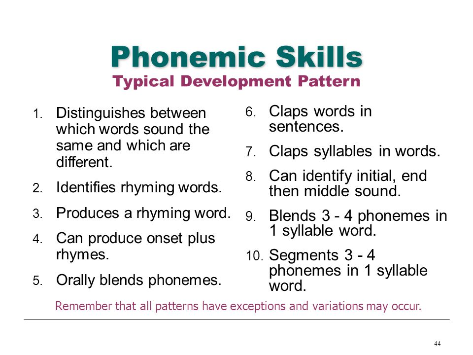 Phonemic Skills Typical Development Pattern Claps words in sentences.
