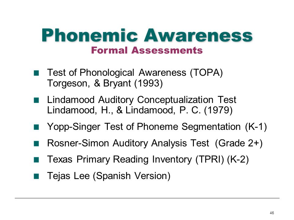 Phonemic Awareness Formal Assessments