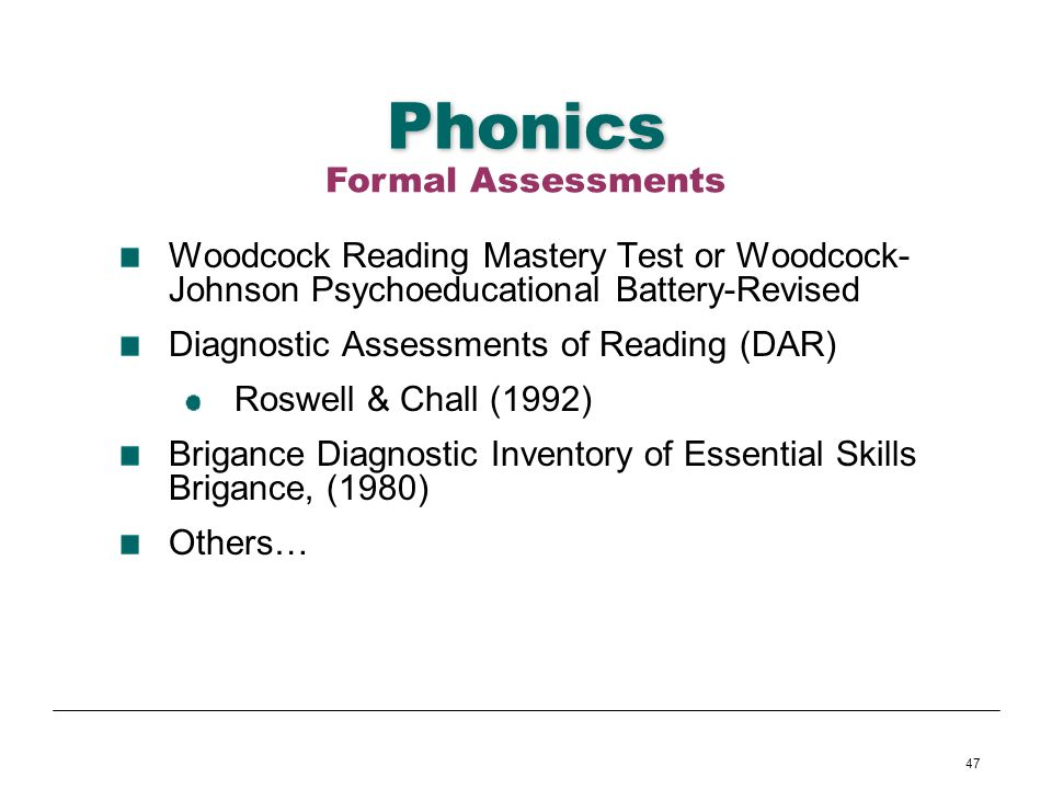 Phonics Formal Assessments