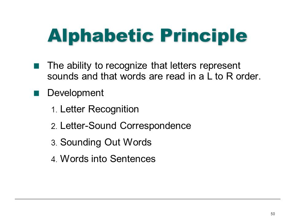 Alphabetic Principle The ability to recognize that letters represent sounds and that words are read in a L to R order.