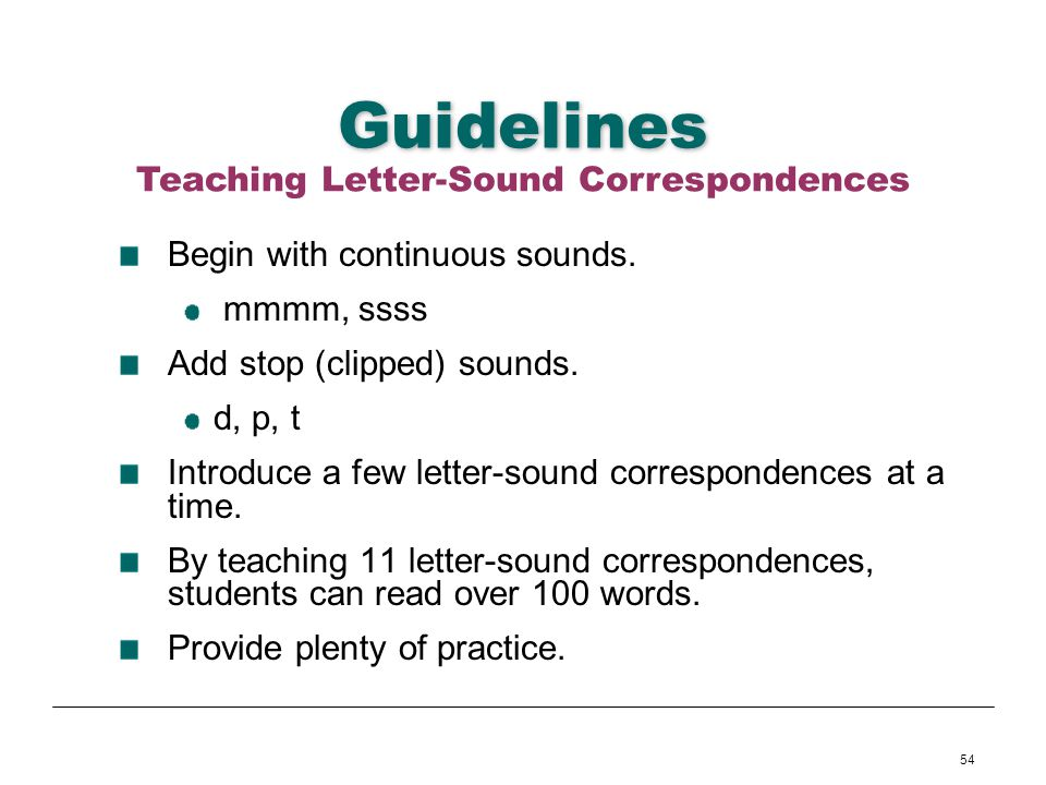 Teaching Letter-Sound Correspondences