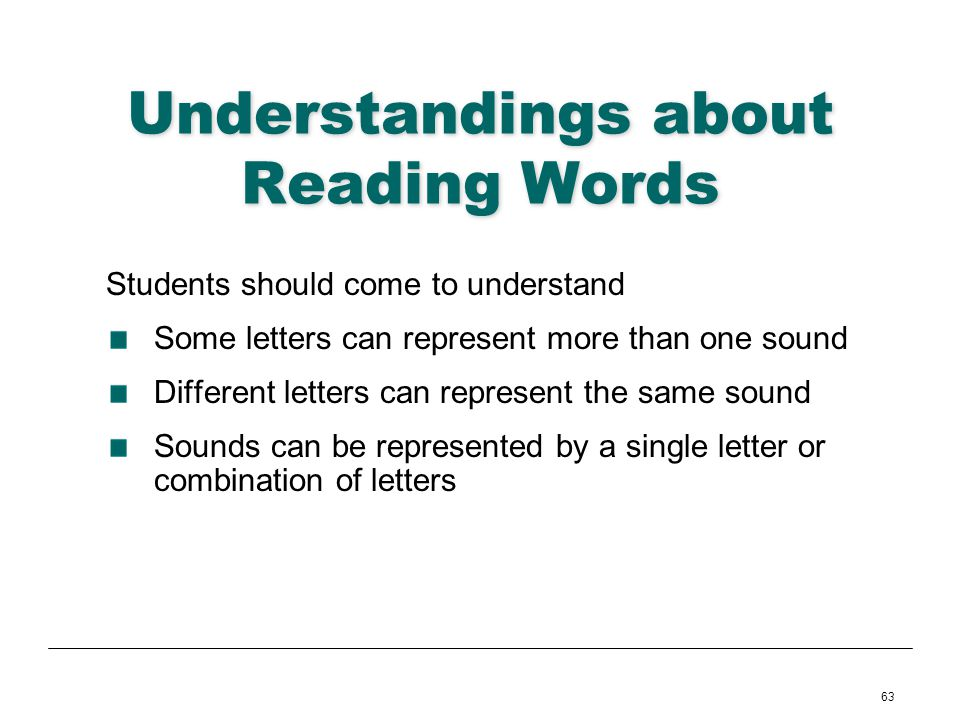 Understandings about Reading Words