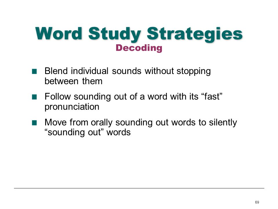 Word Study Strategies Decoding