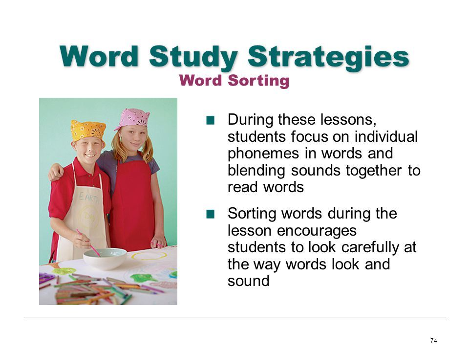 Word Study Strategies Word Sorting