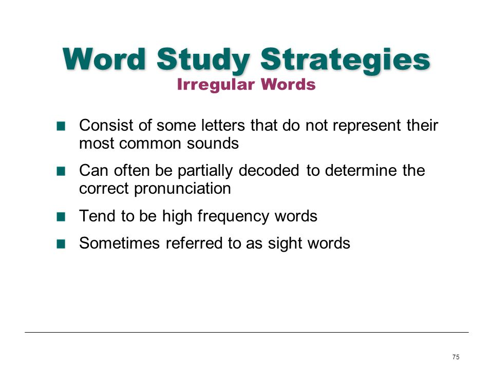 Word Study Strategies Irregular Words