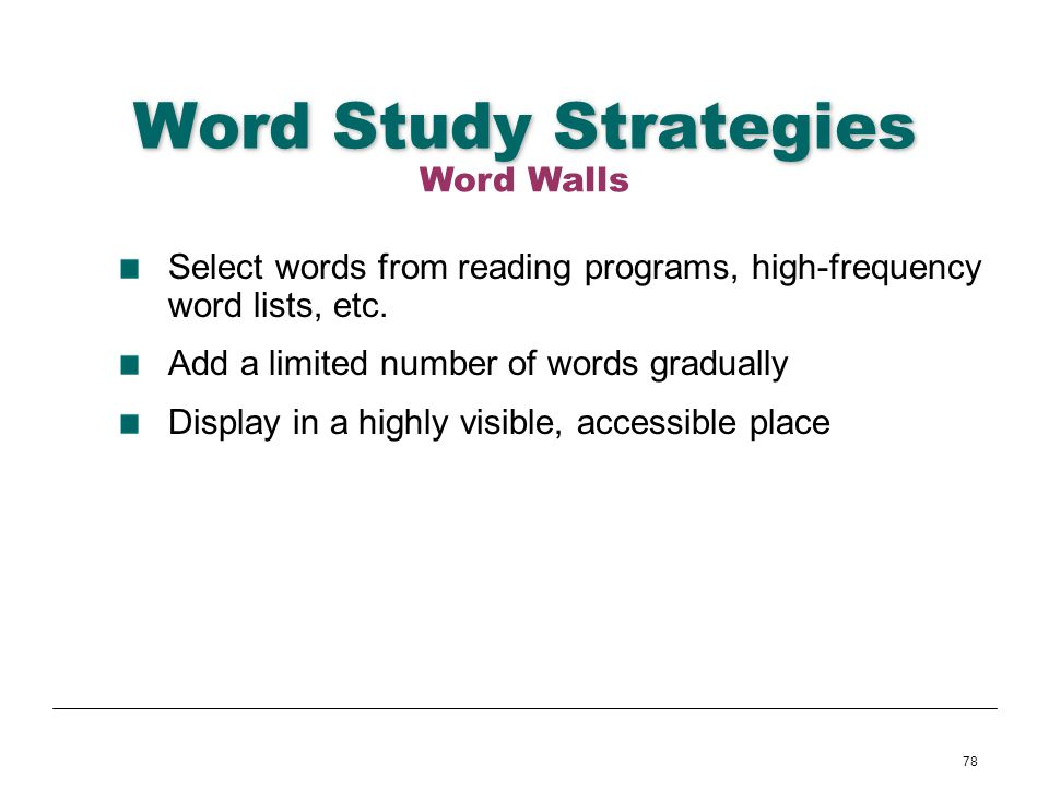 Word Study Strategies Word Walls