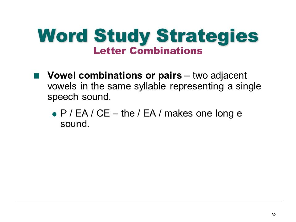 Word Study Strategies Letter Combinations