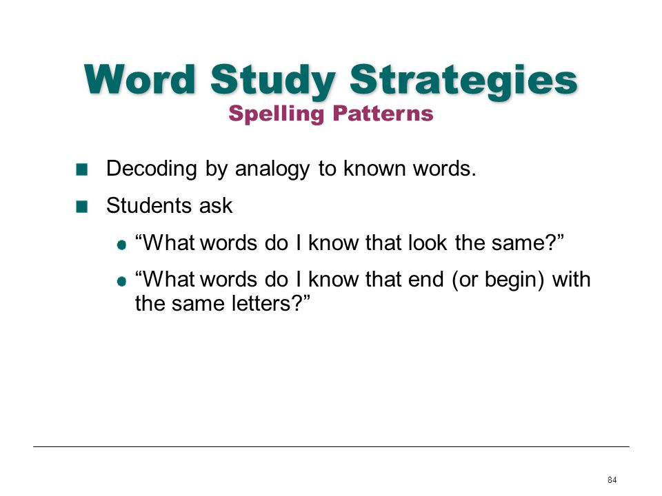 Word Study Strategies Spelling Patterns