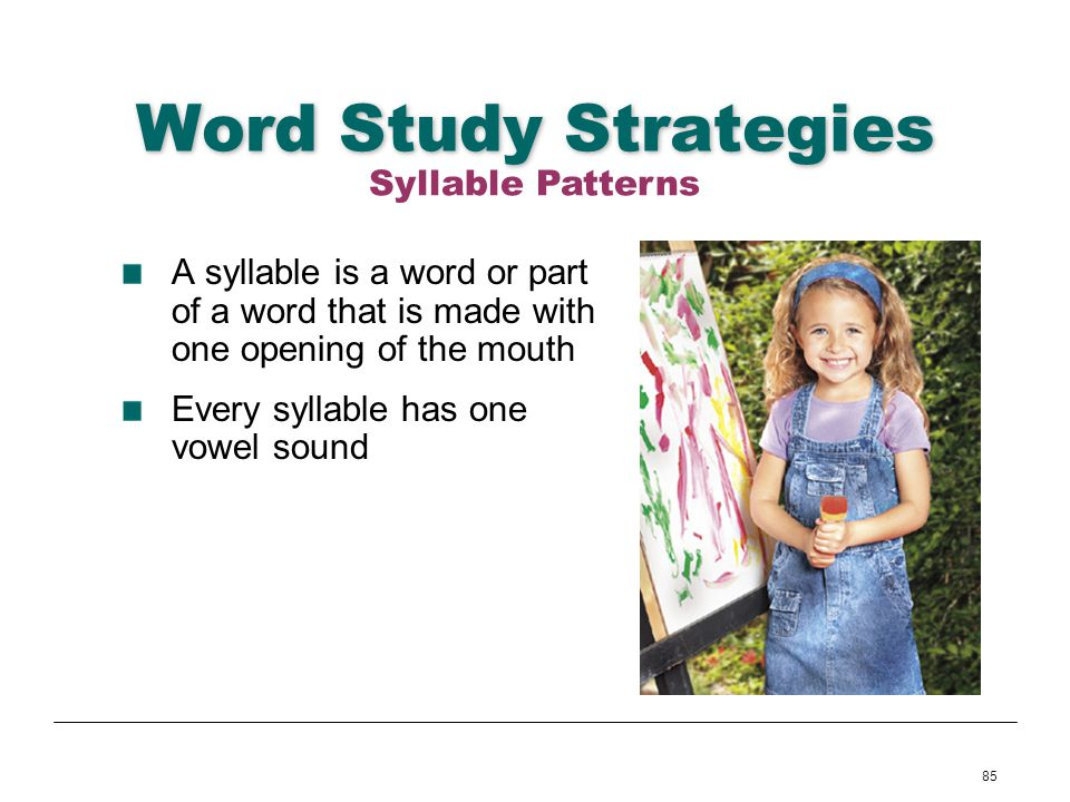 Word Study Strategies Syllable Patterns