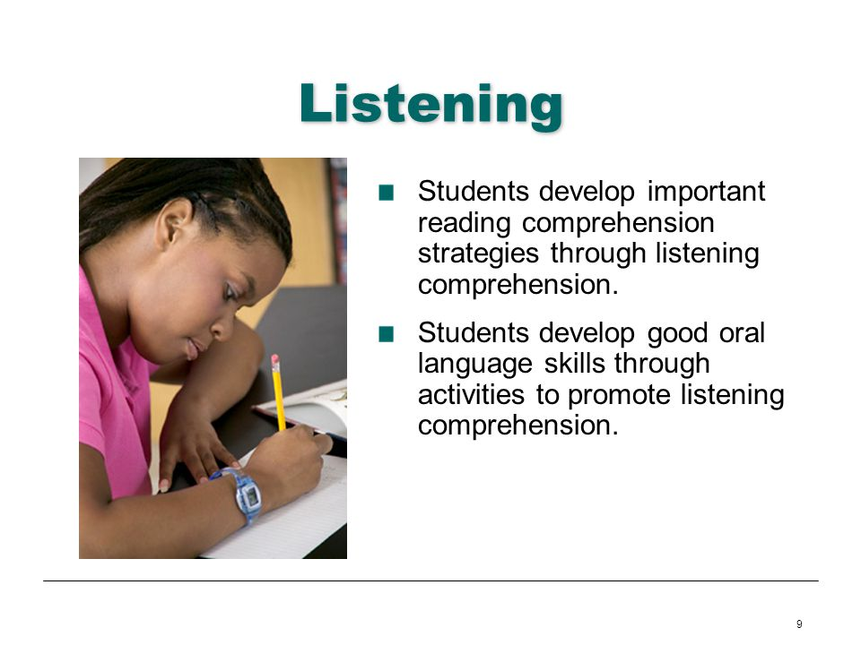 Listening Students develop important reading comprehension strategies through listening comprehension.