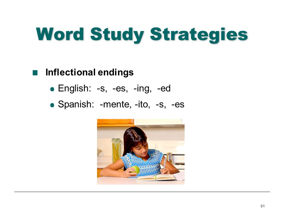 Word Study Strategies Inflectional endings English: -s, -es, -ing, -ed