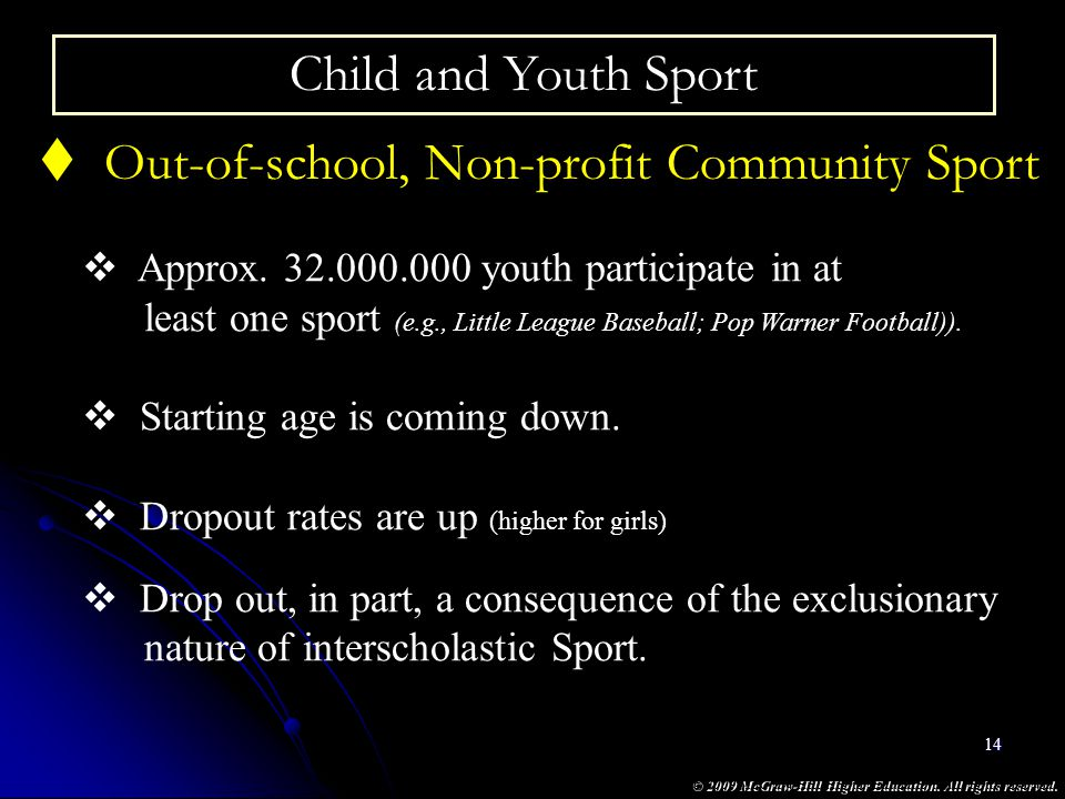 Out-of-school, Non-profit Community Sport