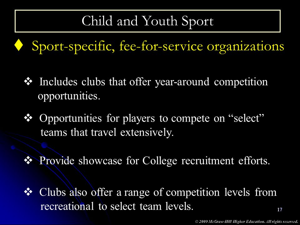 Sport-specific, fee-for-service organizations