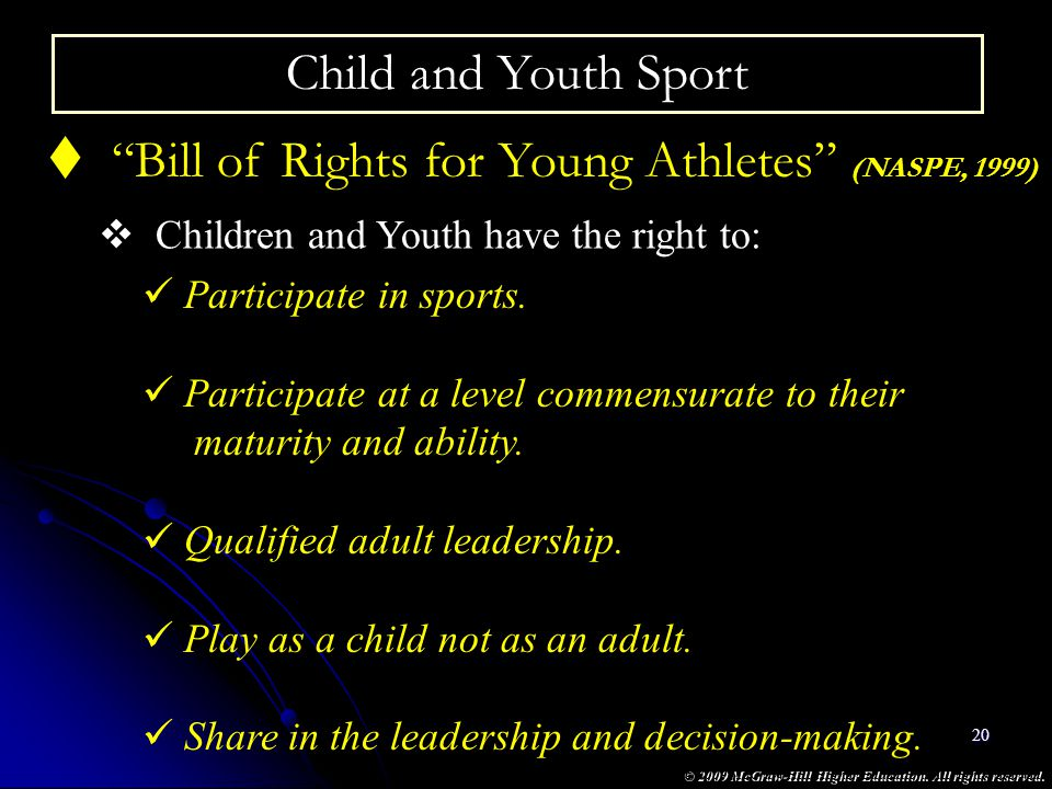 Bill of Rights for Young Athletes (NASPE, 1999)