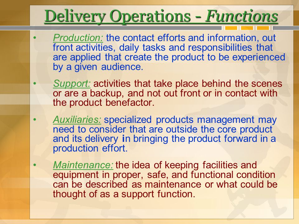 Delivery Operations - Functions