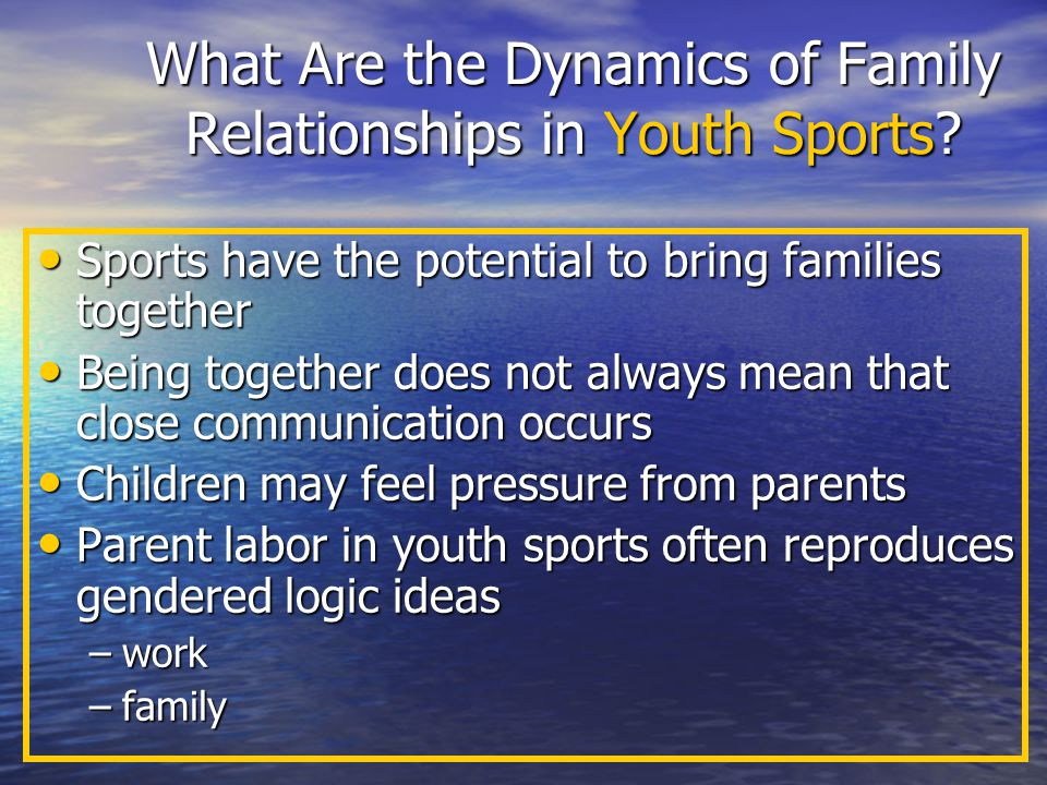 What Are the Dynamics of Family Relationships in Youth Sports