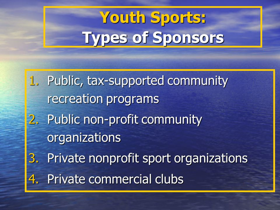 Youth Sports: Types of Sponsors