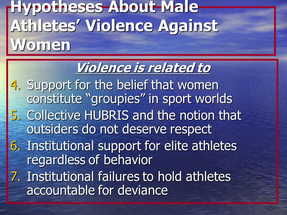 Hypotheses About Male Athletes' Violence Against Women