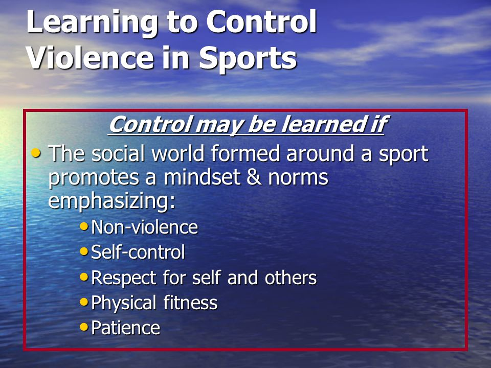 Learning to Control Violence in Sports