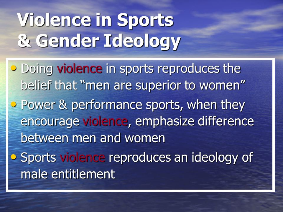 a discussion on the relation between gender ideologies and sports Gender ideologies, youth sports, and the  extends that discussion by positing a four-part periodization of hegemonic and  hegemonic gender ideologies in sport.