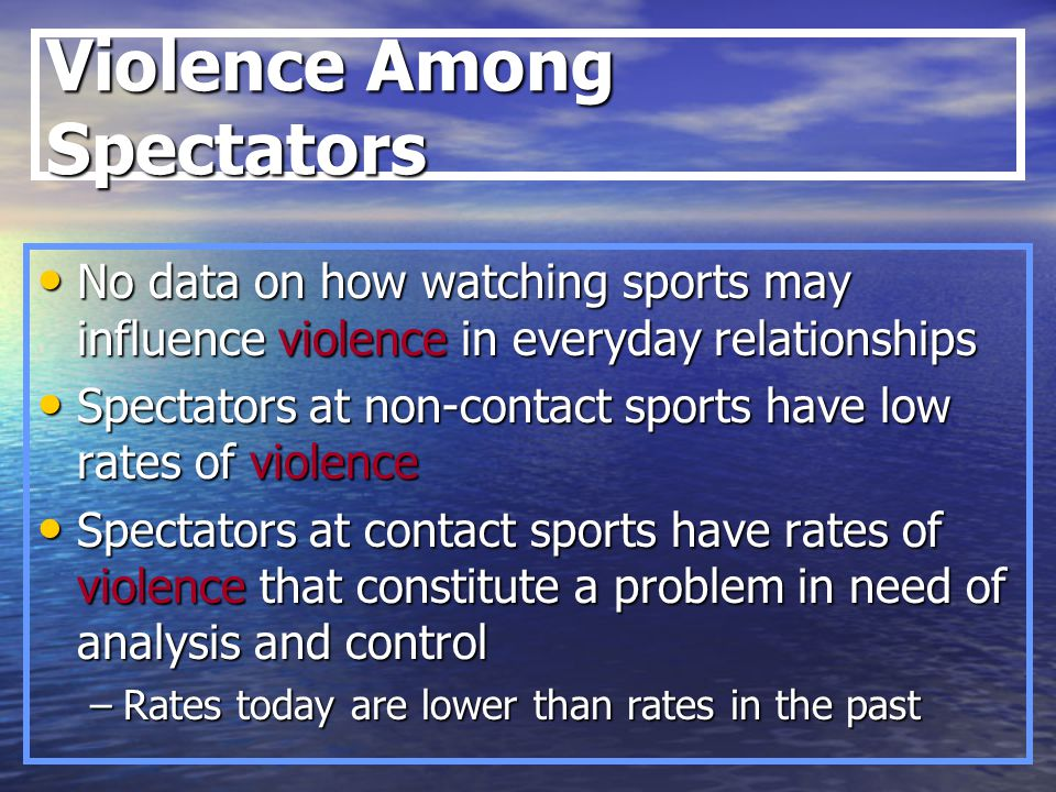 the influence of violence in sports List of violent spectator incidents in sports jump to navigation jump to search on a number of occasions throughout history, notable sporting participants have been involved in violent confrontations with spectators during a competition  the catalyst to the violence was the beating death of unarmed san lorenzo fan ramon aramayo by police.