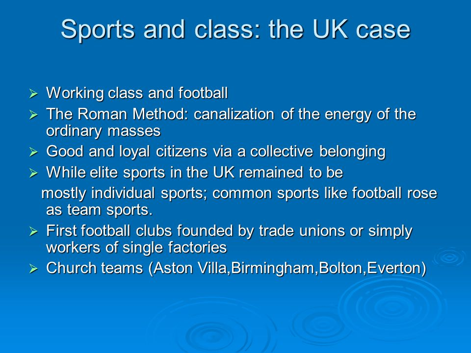 Sports and class: the UK case