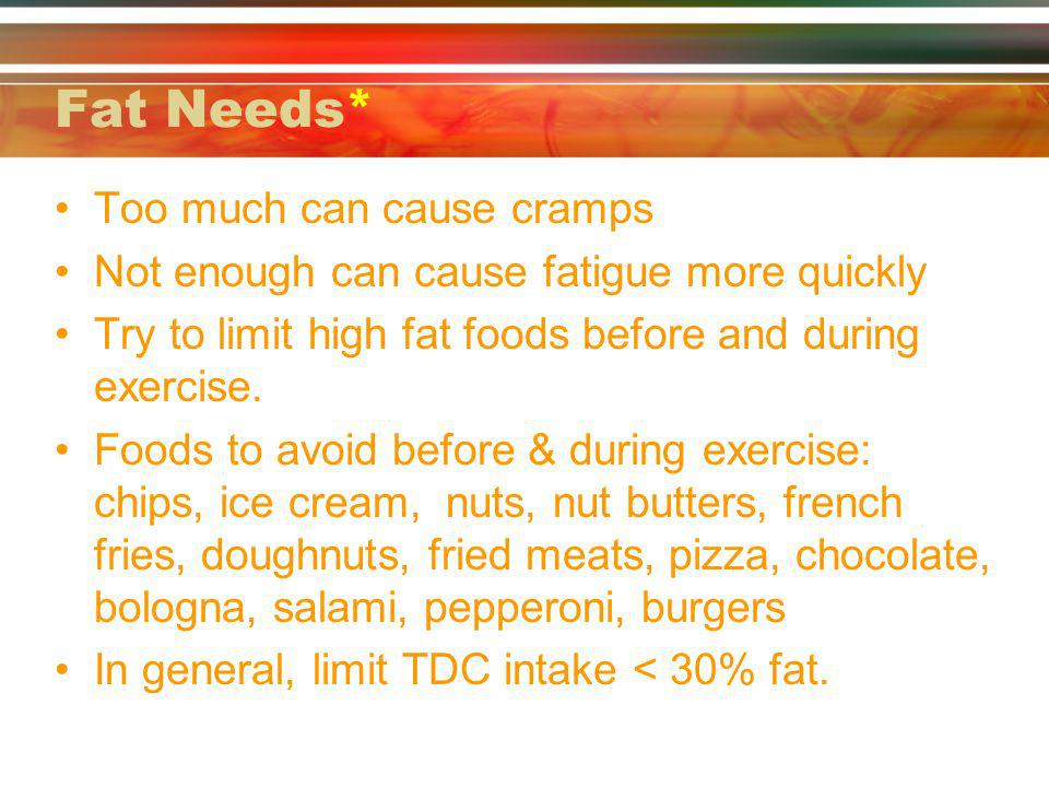 Fat Needs* Too much can cause cramps