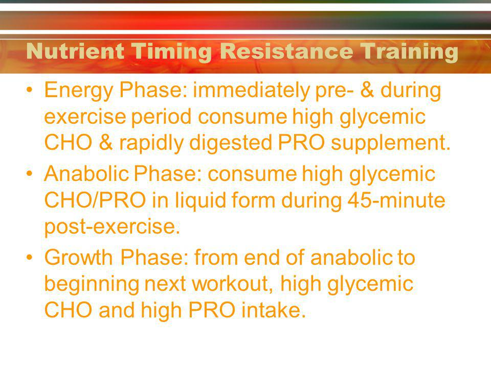 Nutrient Timing Resistance Training