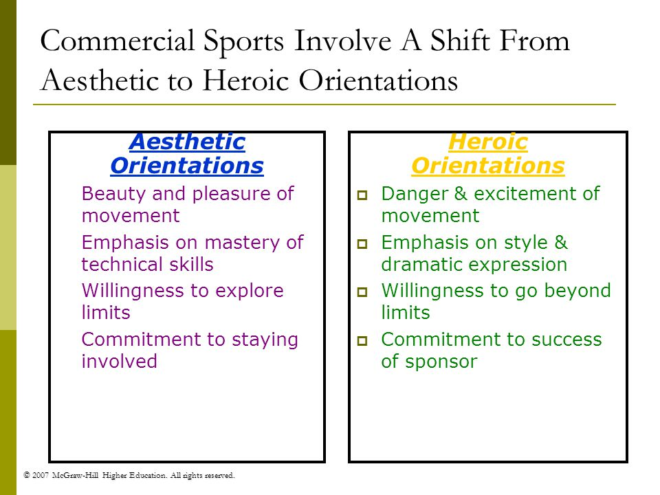 Commercial Sports Involve A Shift From Aesthetic to Heroic Orientations