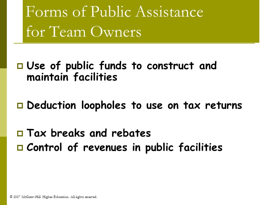 Forms of Public Assistance for Team Owners