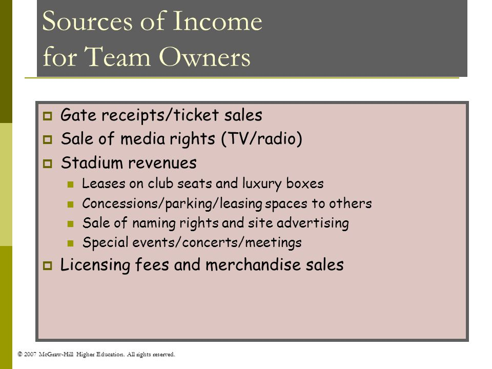 Sources of Income for Team Owners
