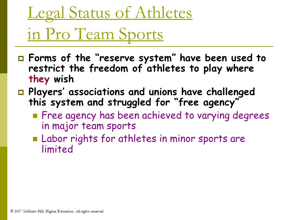 Legal Status of Athletes in Pro Team Sports