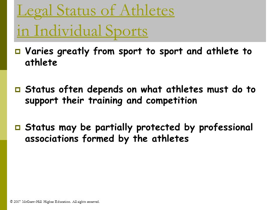 Legal Status of Athletes in Individual Sports