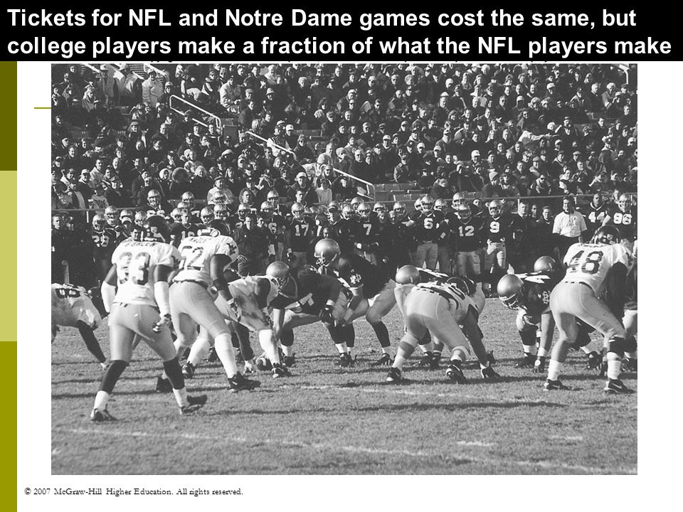 Tickets for NFL and Notre Dame games cost the same, but college players make a fraction of what the NFL players make