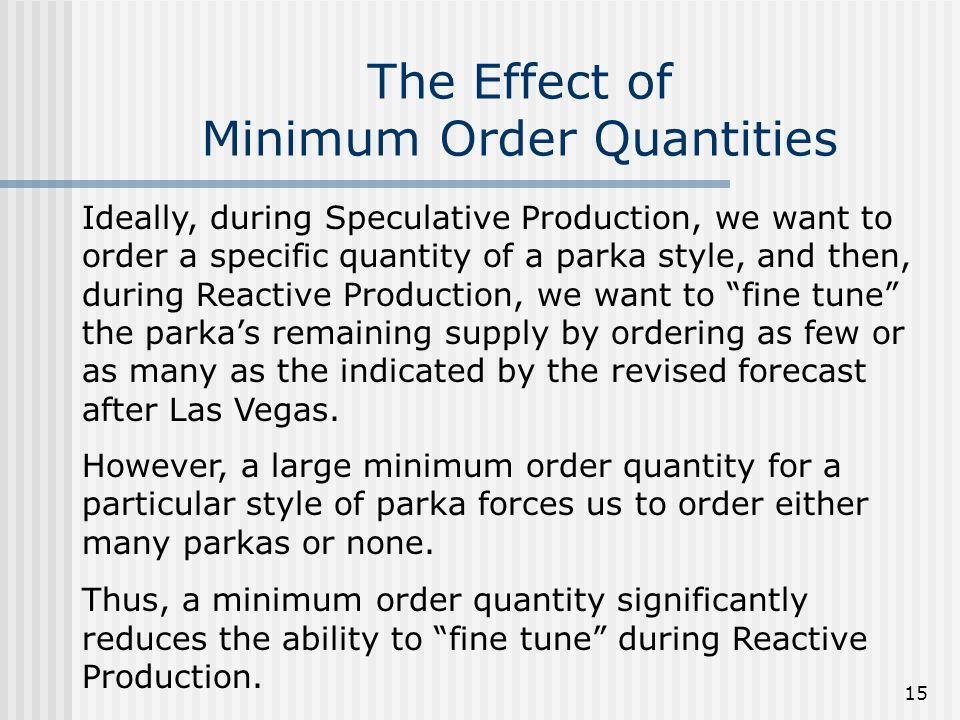 The Effect of Minimum Order Quantities