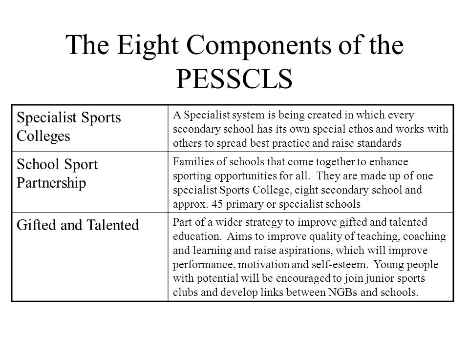 The Eight Components of the PESSCLS