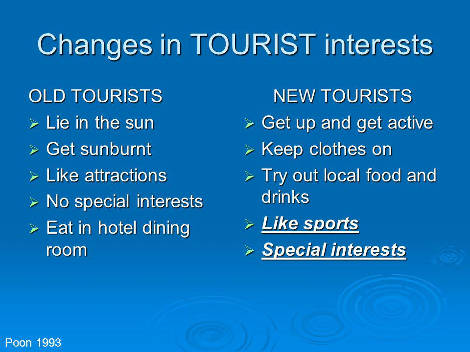 Changes in TOURIST interests