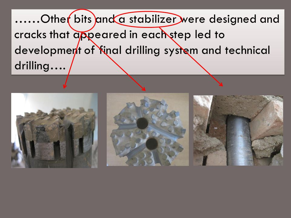 ……Other bits and a stabilizer were designed and cracks that appeared in each step led to development of final drilling system and technical drilling….