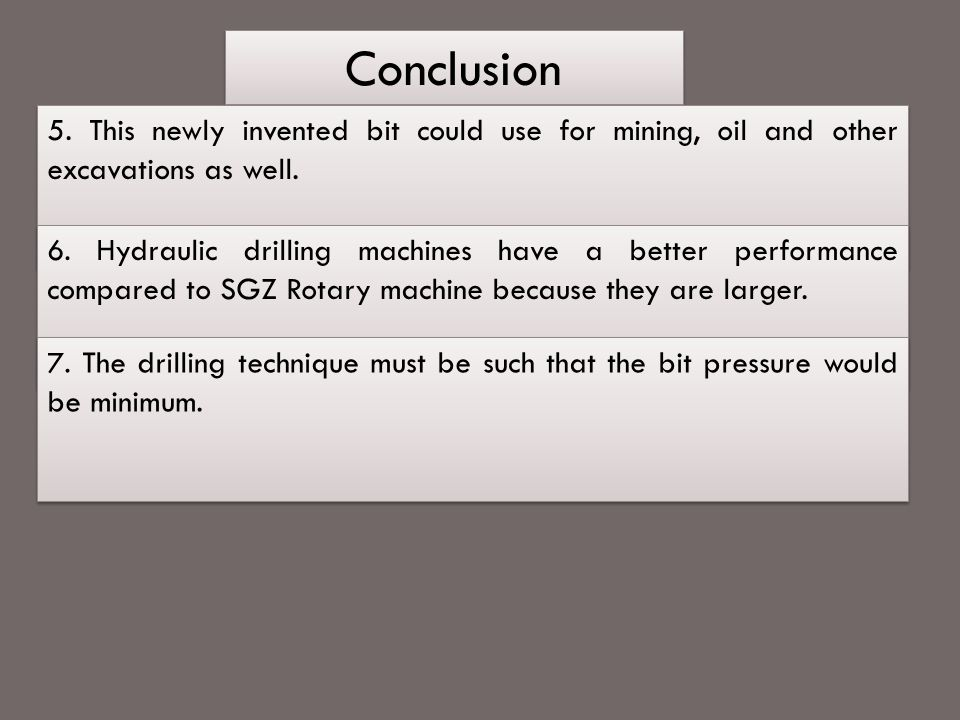 Conclusion 5. This newly invented bit could use for mining, oil and other excavations as well.