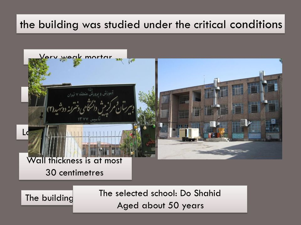 the building was studied under the critical conditions